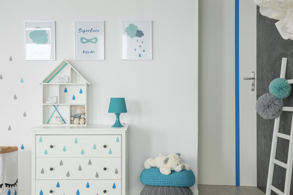 Blauwe druppels babykamer