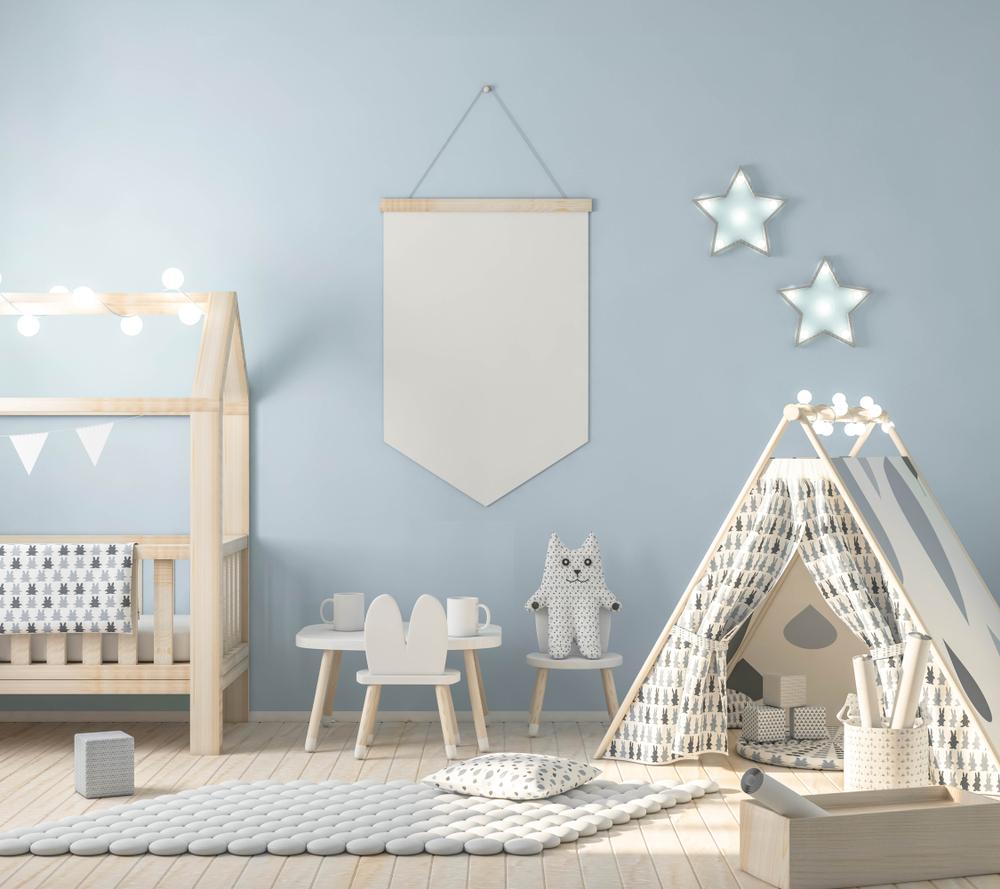 Grijsblauwe babykamer