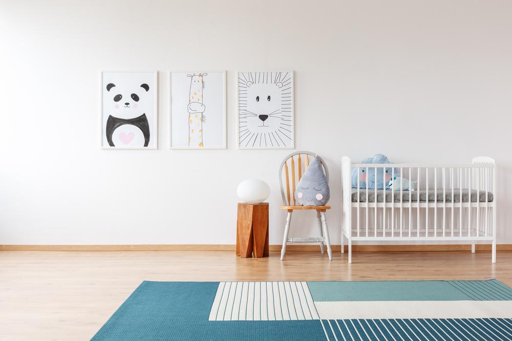 Blauw vloerkleed babykamer