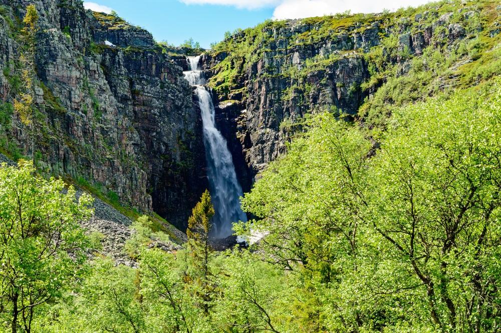 Njupeskar Hoogste waterval Zweden